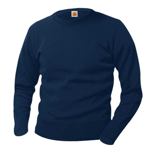 AHN NAVY CREWNECK PULLOVER SWEATER