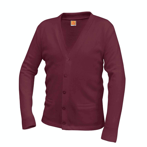 NAZARETH V-NECK WINE CARDIGAN SWEATER