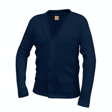 Load image into Gallery viewer, ST. PIUS V-NECK NAVY CARDIGAN SWEATER