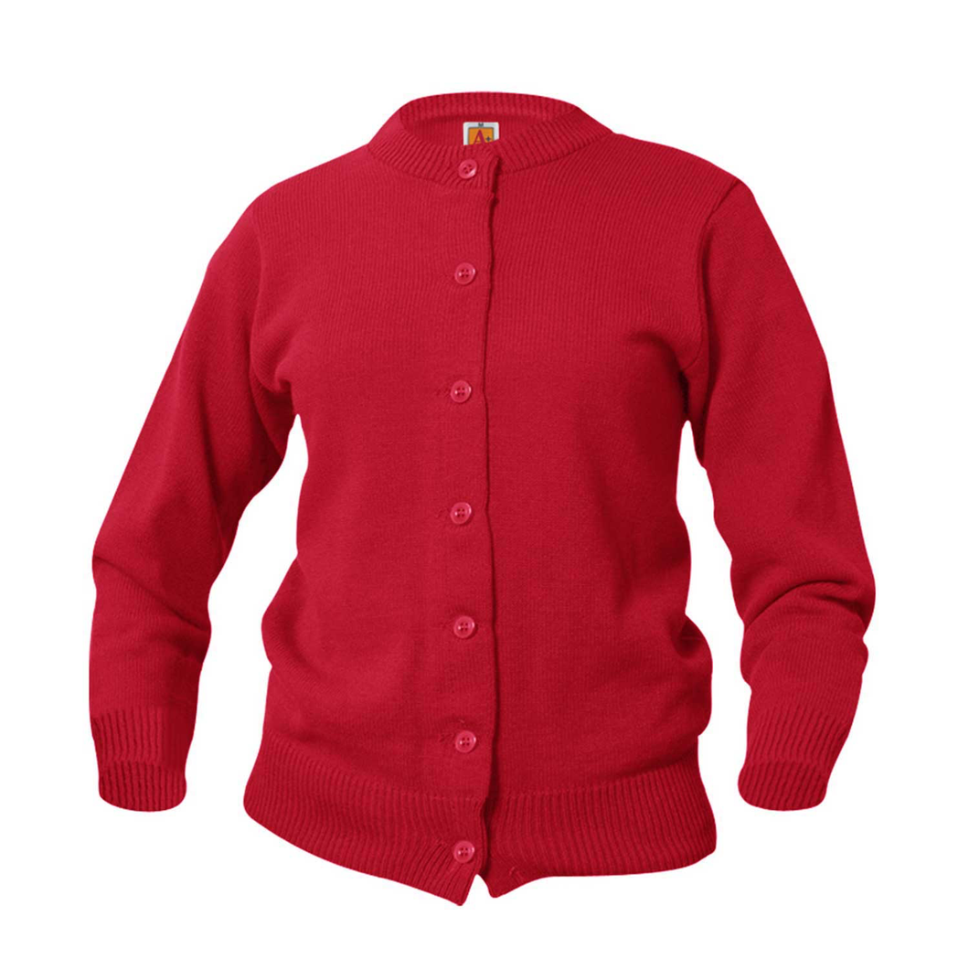SHS RED CREW NECK CARDIGAN SWEATER
