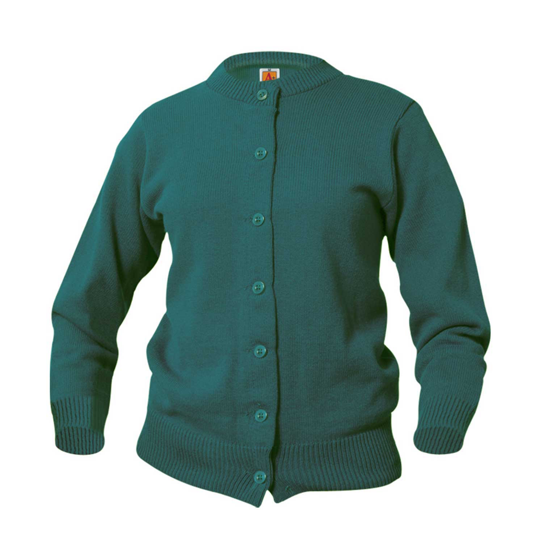 GREEN CREW NECK CARDIGAN SWEATER