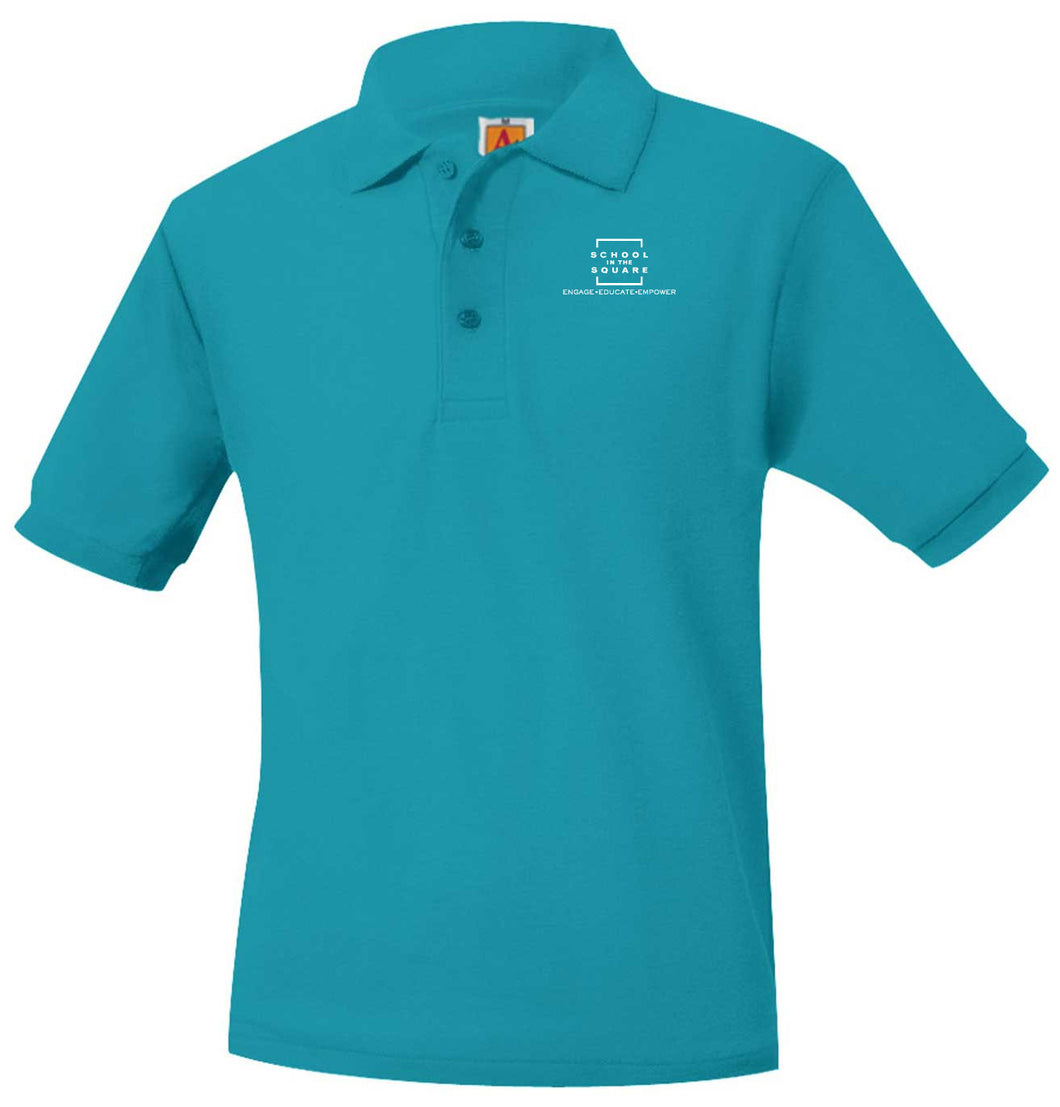 SCHOOL IN THE SQUARE -MIDDLE SCHOOL SHORT SLEEVE TEAL POLO