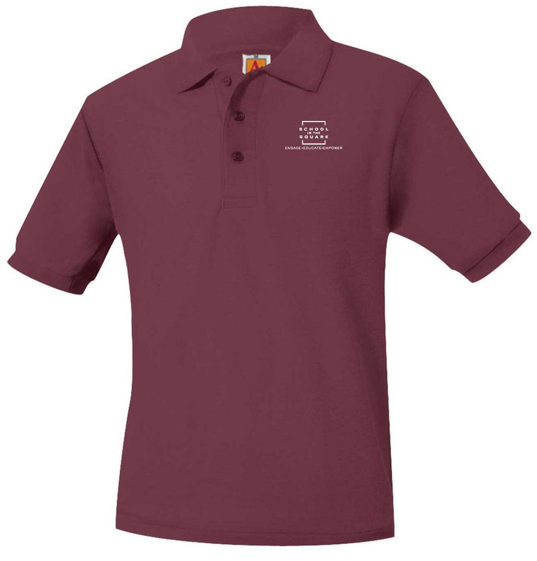 SCHOOL IN THE SQUARE -MIDDLE SCHOOL WINE SHORT SLEEVE POLO