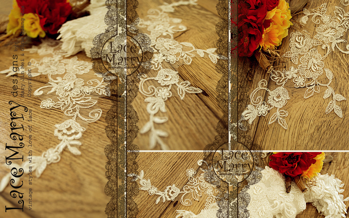 White flowers leaves embroidered beaded lace trim applique