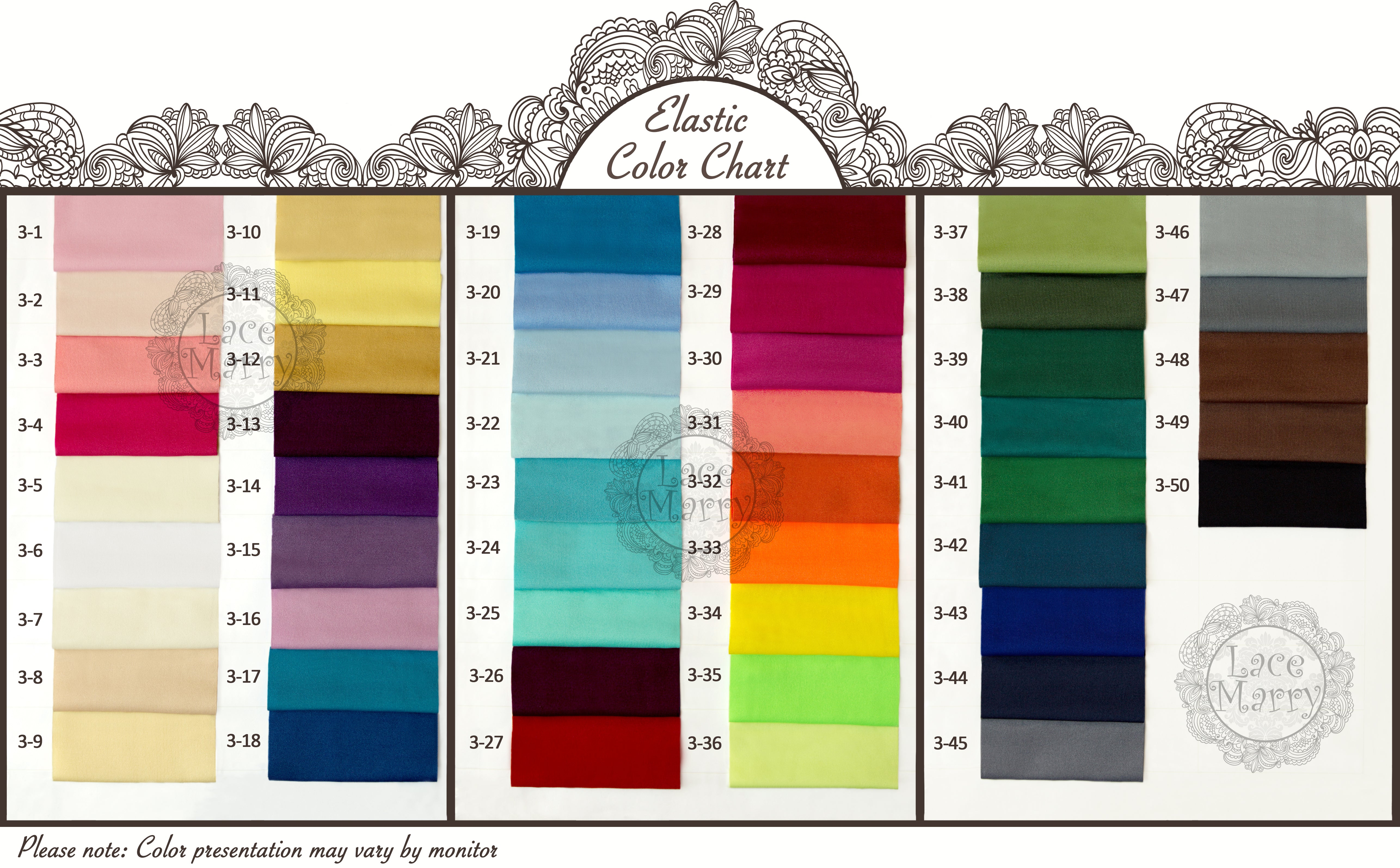 Lacemarry color charts of satin chiffon taffeta and strength elastic color chart nvjuhfo Images