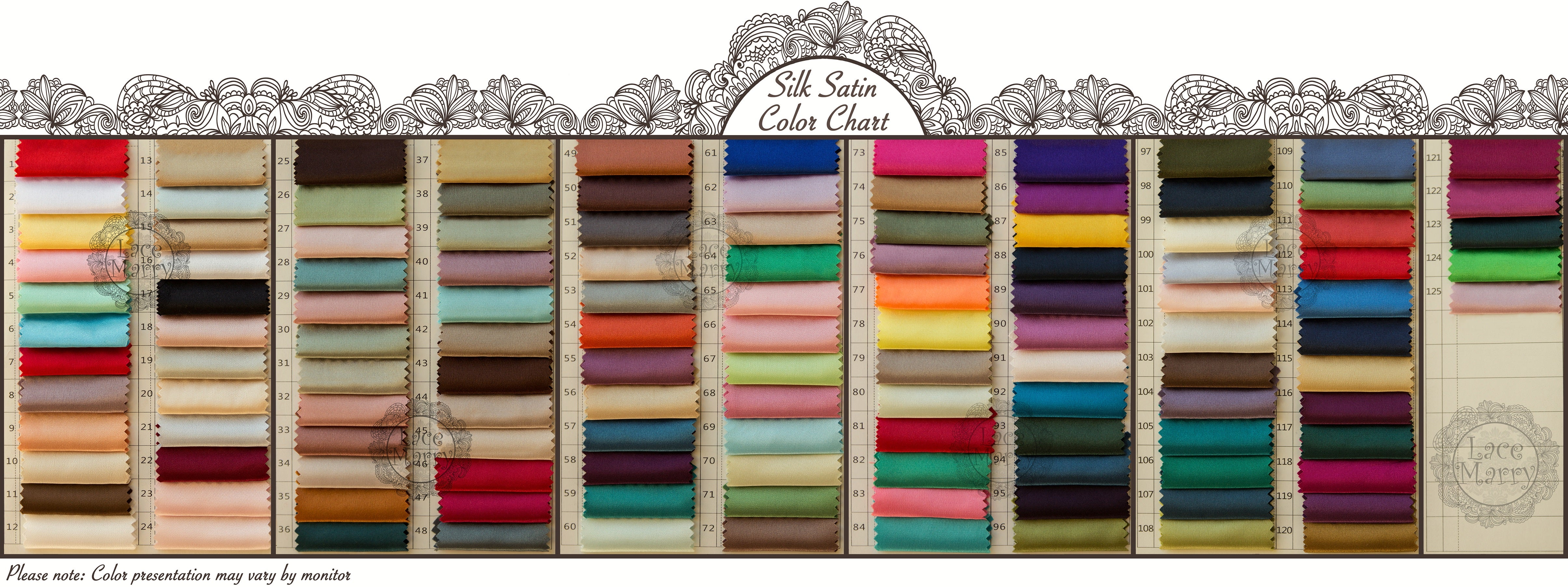 Lacemarry color charts of satin chiffon taffeta and strength silk satin color chart nvjuhfo Images