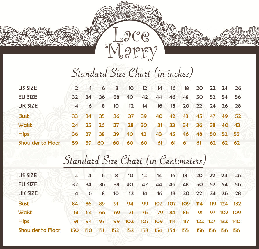 Wedding Dress Size Chart