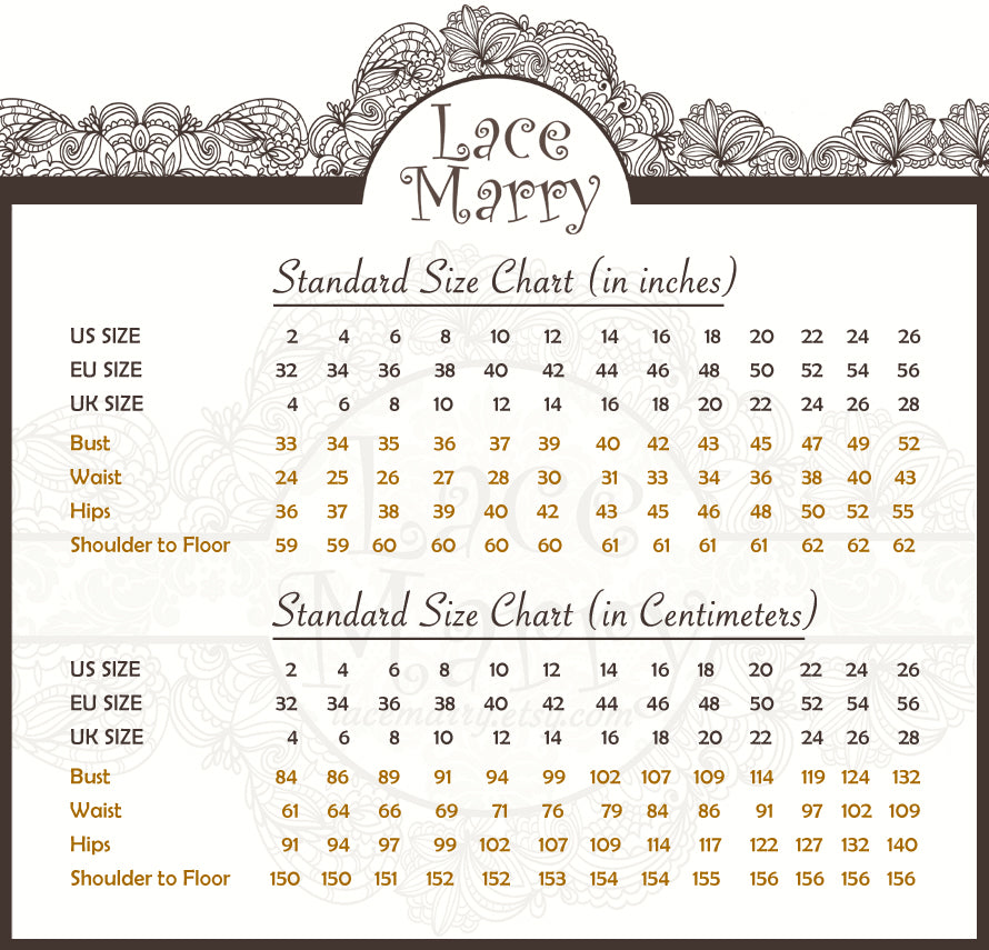 LaceMarry Wedding Dress Size Chart
