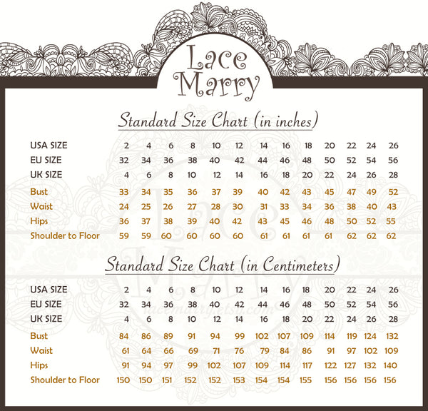 LaceMarry Size Chart in CM and IN