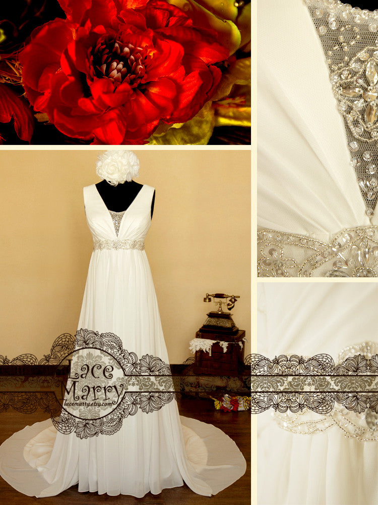 Chiffon Wedding Dress with Amazing Beaded Sash Detail