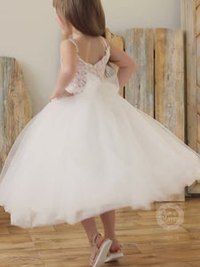 Blush and Ivory Tulle Flower Girl Dress