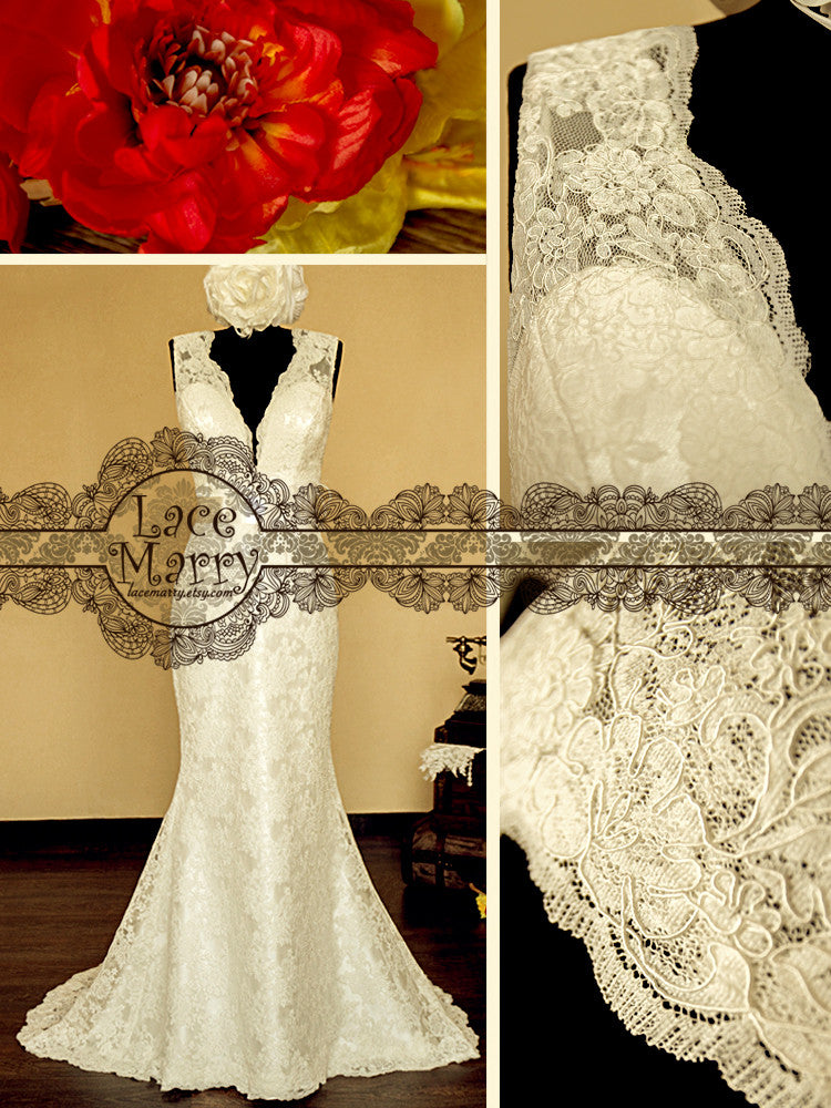 Sweetheart Deep V-Neck wedding gown
