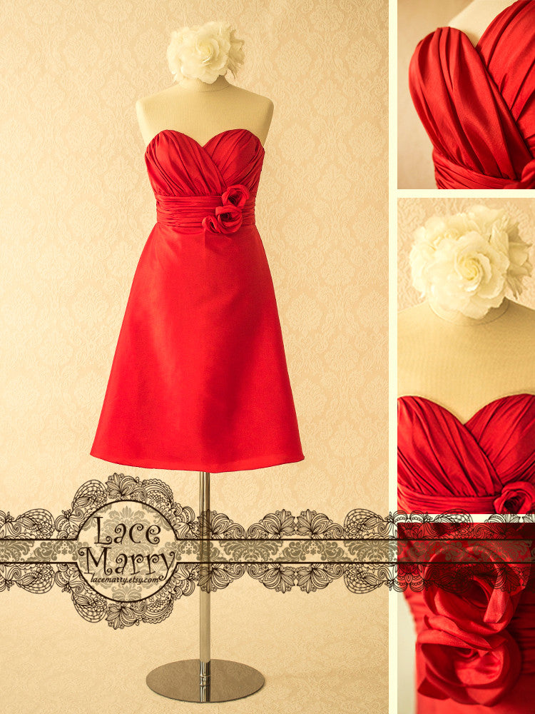 Short Bridesmaid Dress in A-Line Style and Red Color