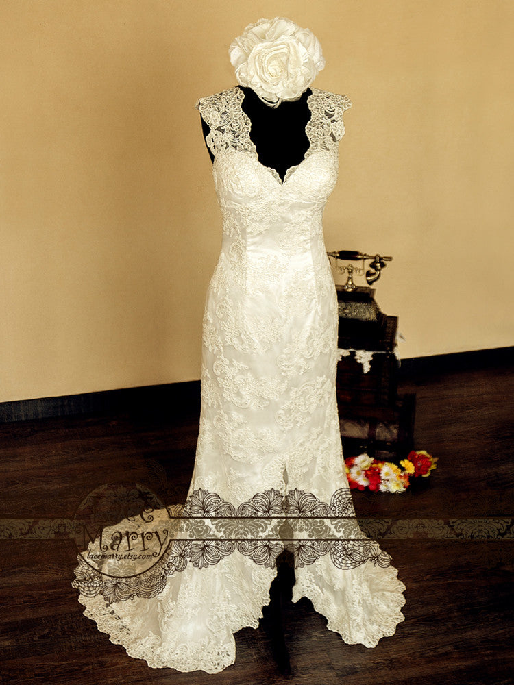 A-line wedding gown with slit