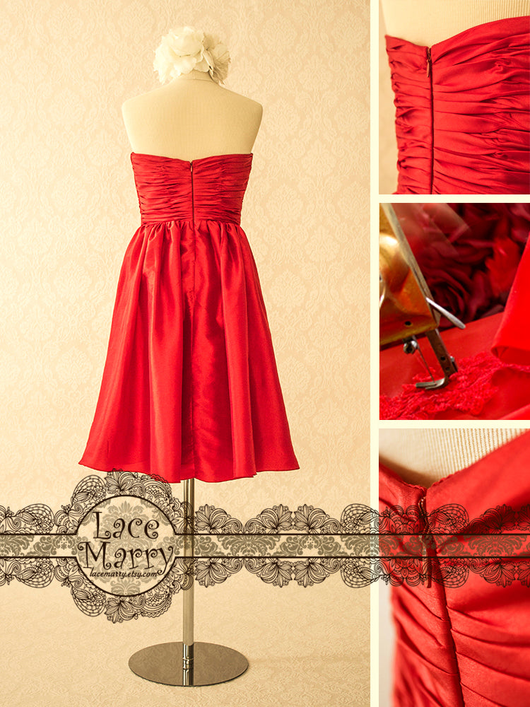 Red Dress with Flower Accent