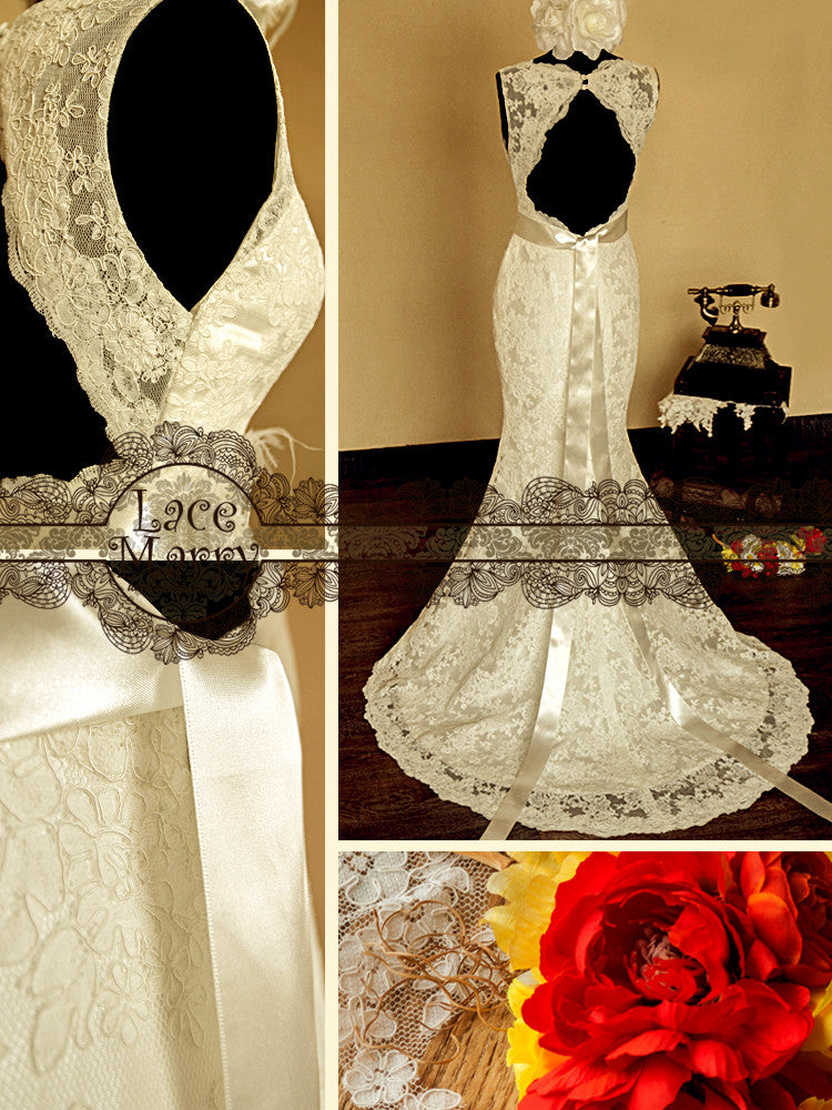wedding dress with keyhole back
