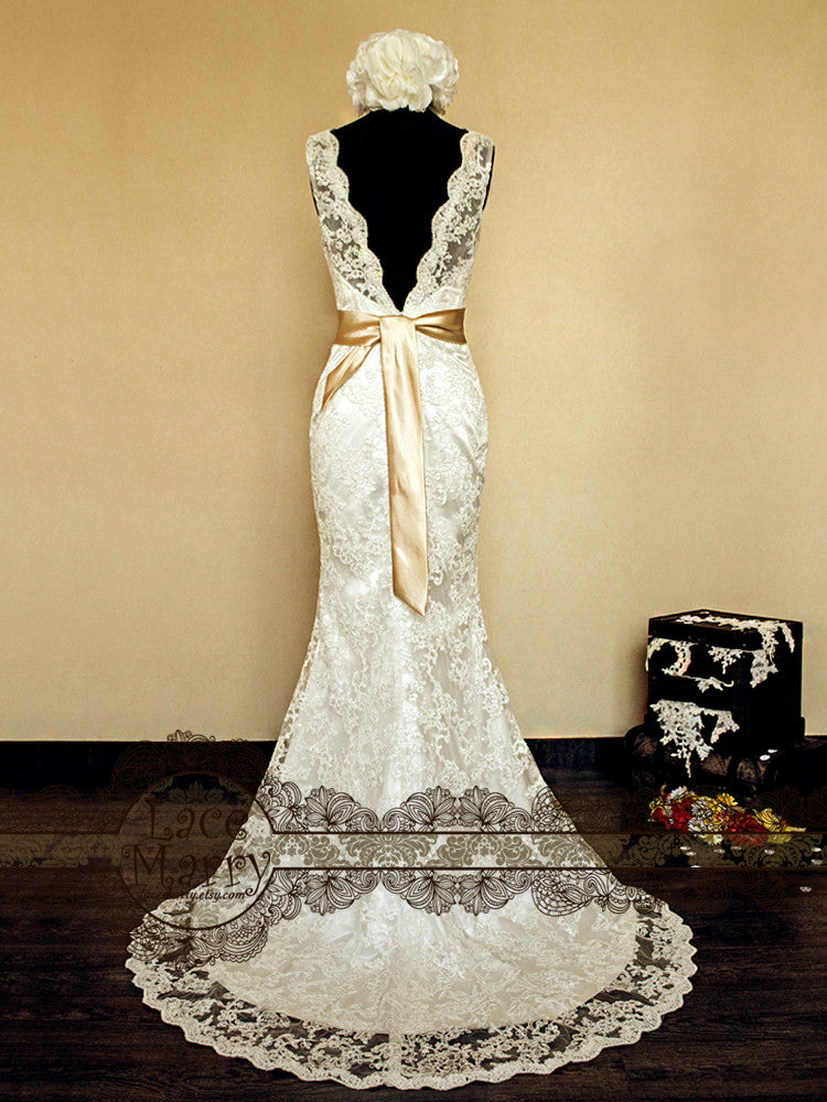 Vintage Inspired Lace Wedding Dress with Sexy V Cut Back