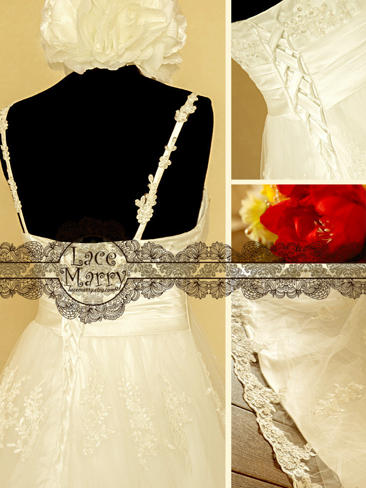 wedding gown with Flower Applique