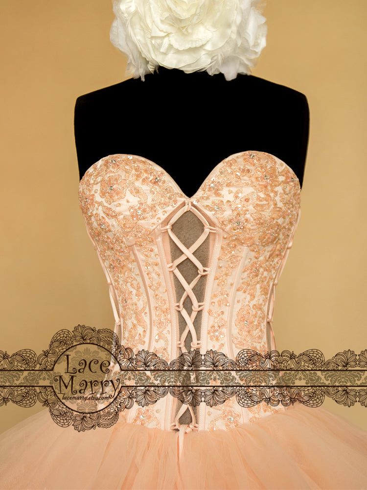 Strapless Wedding Dress with Beading on the Bust Part