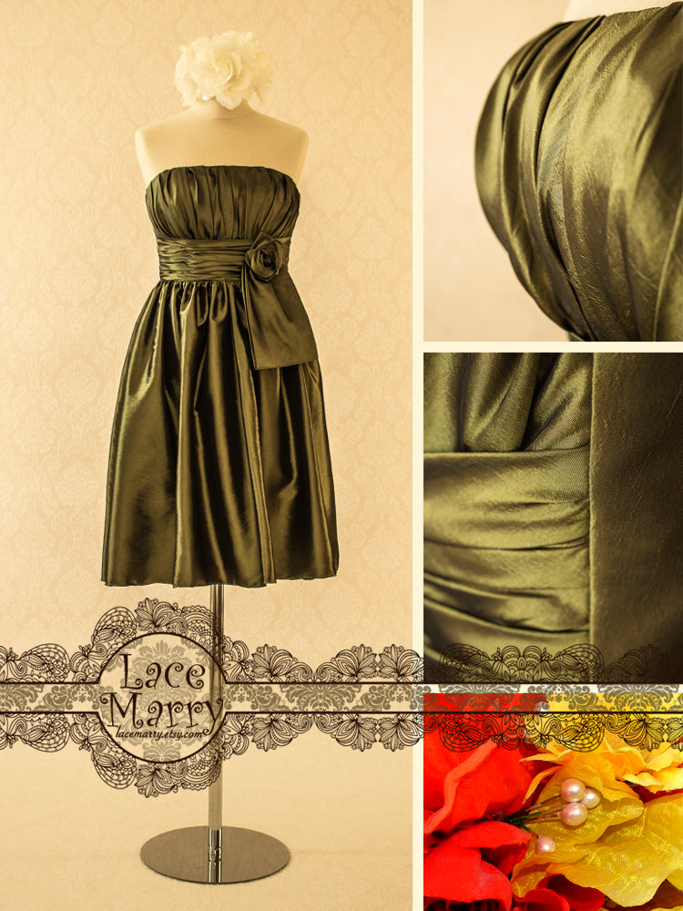 Green Color Bridesmaid Dress in Taffeta Fabric