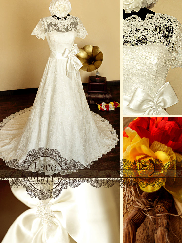 A-Line Style Full Lace Wedding Dress