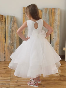 A Line Horsehair Hem Skirt Junior Bridesmaid Dress