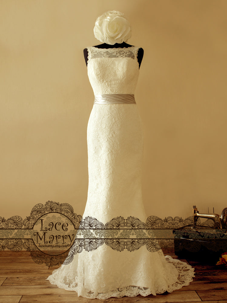 Modest V Cut Back Lace Wedding Dress