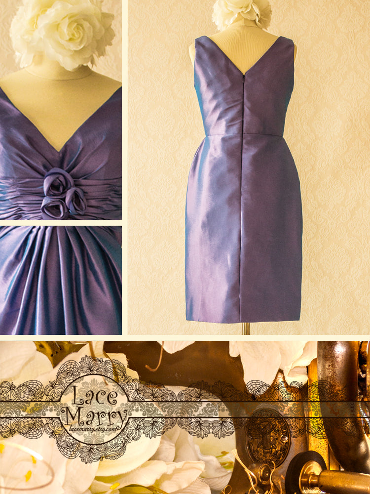 Purple Satin Bridesmaid Dress with V-Neckline and Back