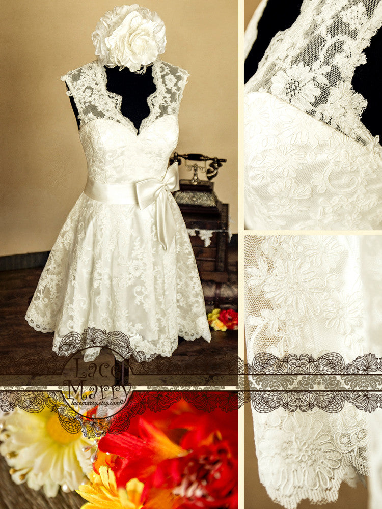 50s Inspired Knee Length Lace Wedding Dress with Keyhole Back