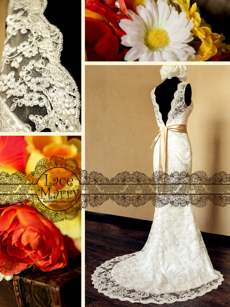 Illusion Neckline and Open Back Lace Wedding Dress