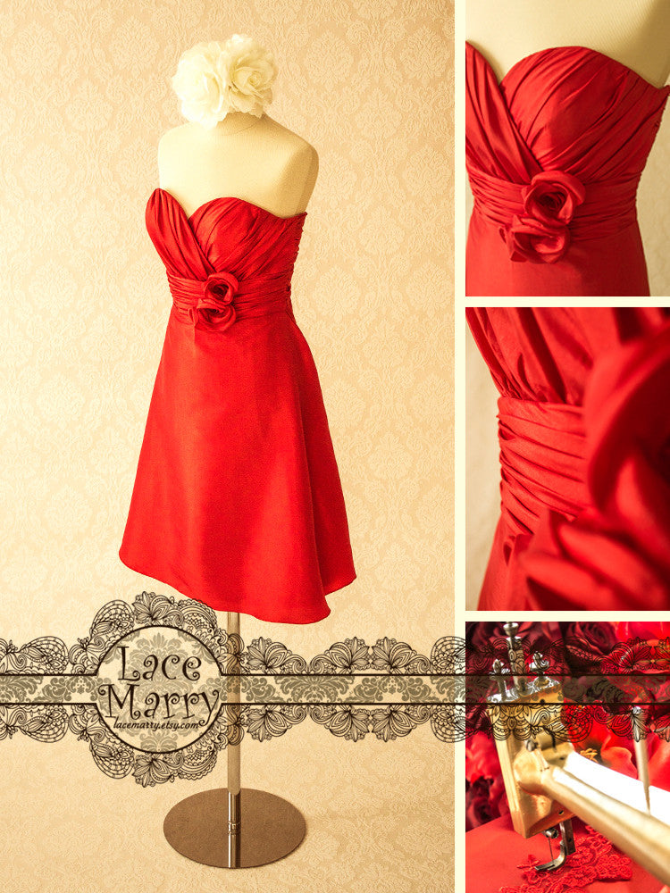 Sweetheart Neckline Red Bridal Party Dress