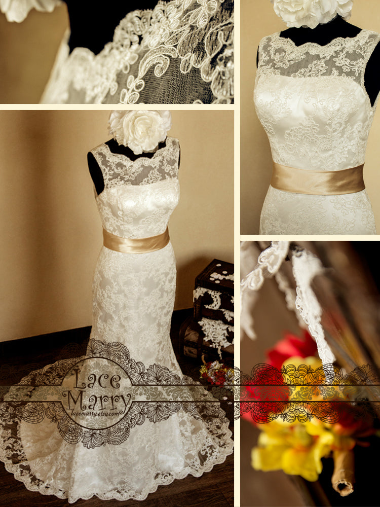 Slim A-Line Style Lace Wedding Dress