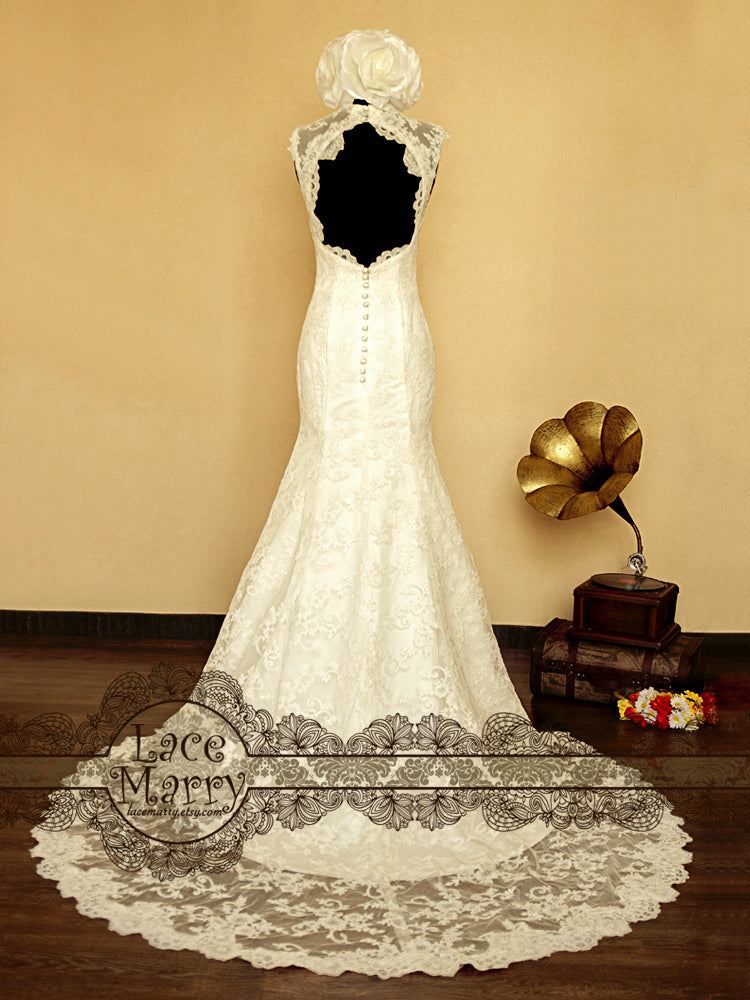 Full Lace Wedding Dress with Keyhole Back and High Collar