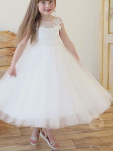 Airy Puffy Tulle Skirt Flower Girl Dress with Big Bow