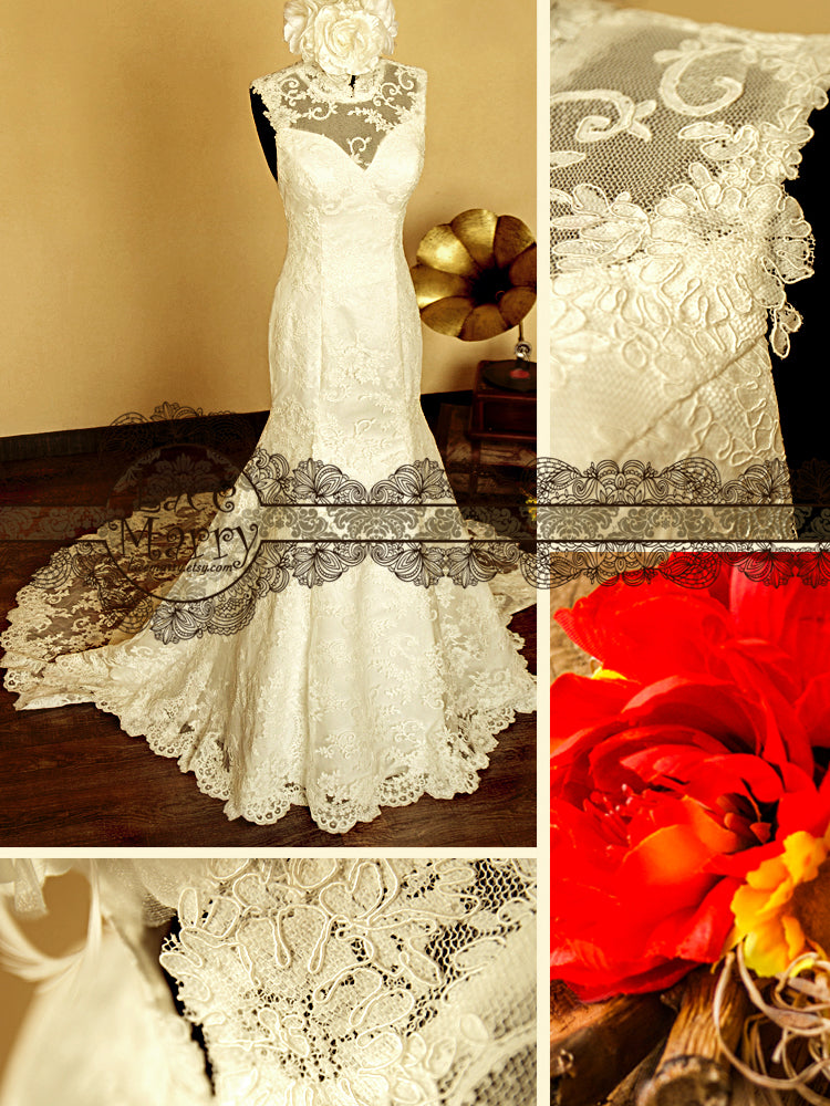 Lace Wedding Dress with High Collar