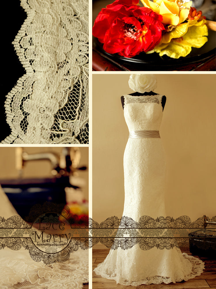 Elegant Lace Design with Scalloped Edges