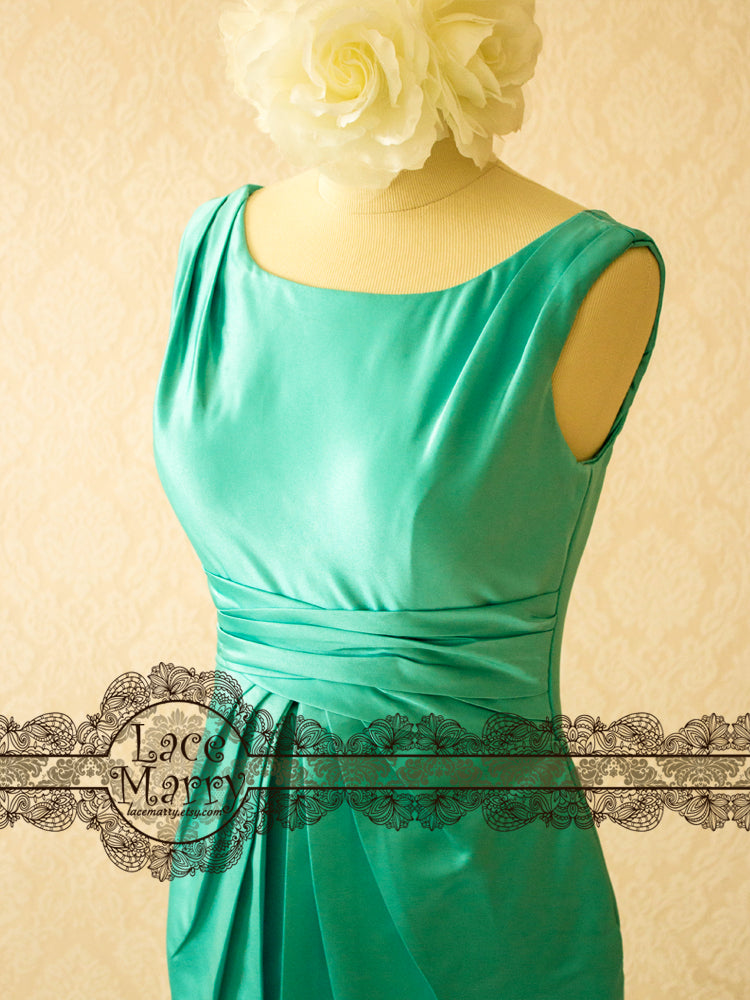 Turquoise Color Bridesmaid Dress with Scoop Neckline