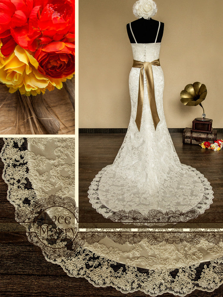 Wedding Dress with Removable Satin Sash