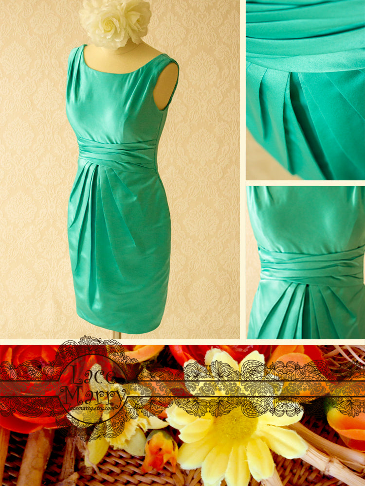 Short Bridesmaid Dress in Turquoise Color