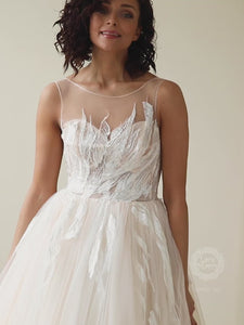 Gorgeous Illusion Neckline Wedding Dress with Lace up Closure