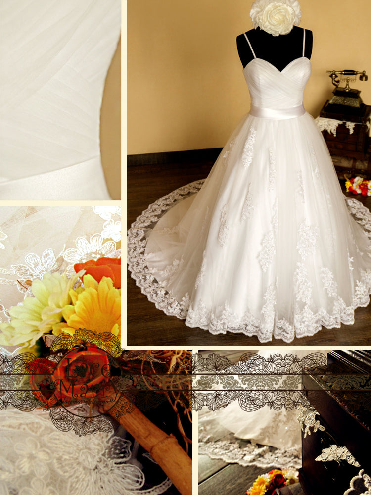 Sweetheart Neckline Ball Style Tulle Wedding Dress