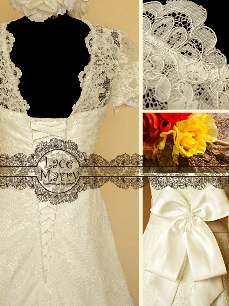 Wedding Dress with Small Lace Sleeves