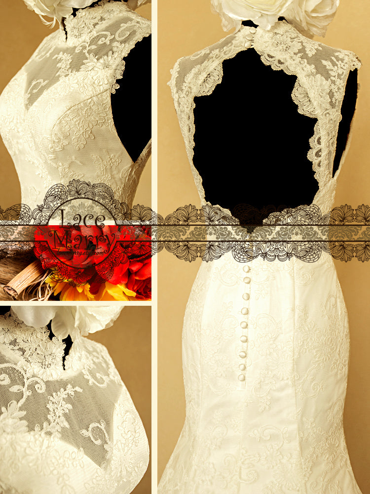 Buttons on Lace Wedding Dress Back