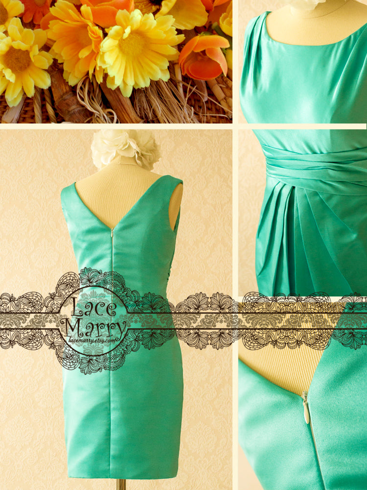 Turquoise Color Bridal Party Dress with Scoop Neckline
