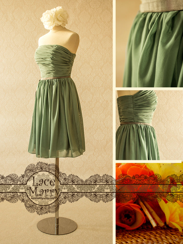 Soft Green Color Bridesmaid Dress with Flowy Skirt