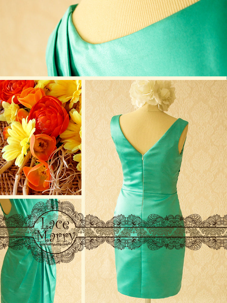 Turquoise Color Party Dress with Scoop Neckline and V-Cut Back