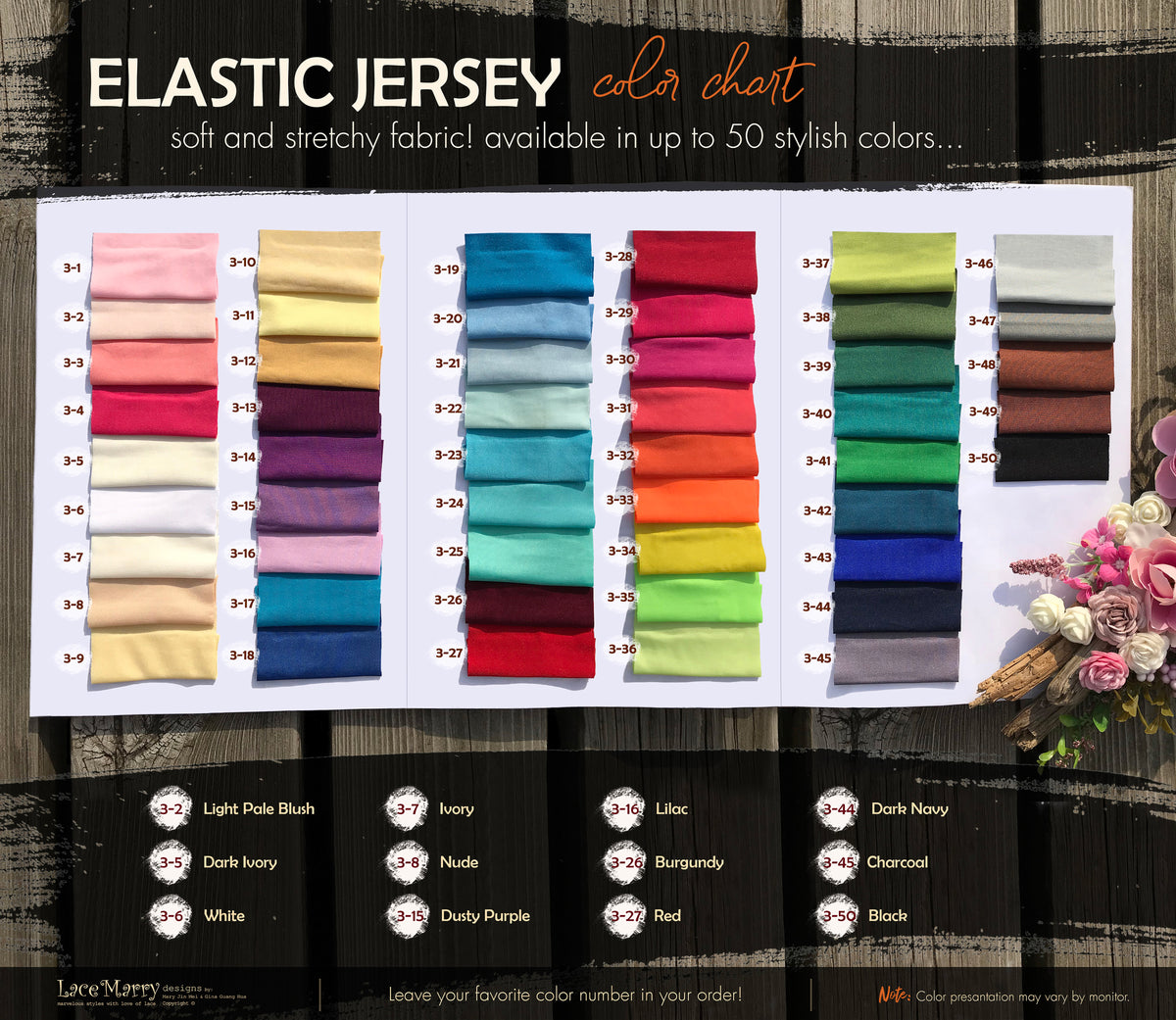 Elastic Jersey Fabric Color Book