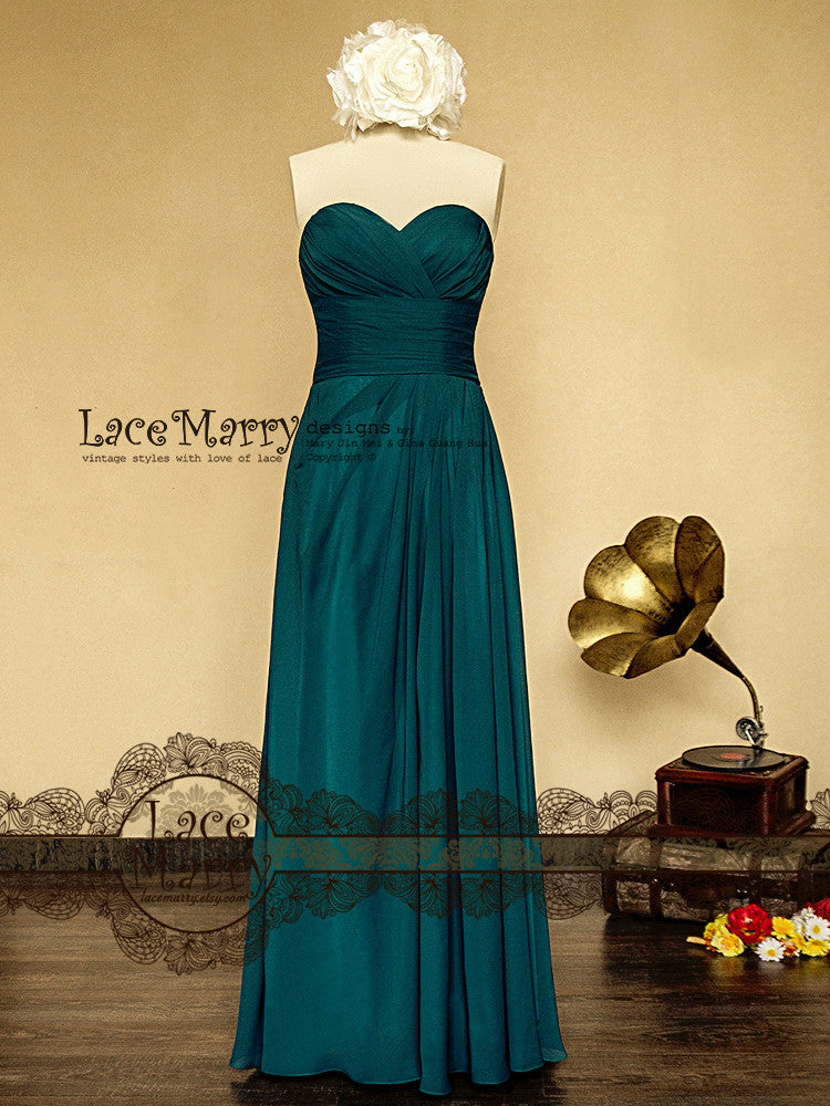 Vintage Blue Chiffon Bridesmaid Dress
