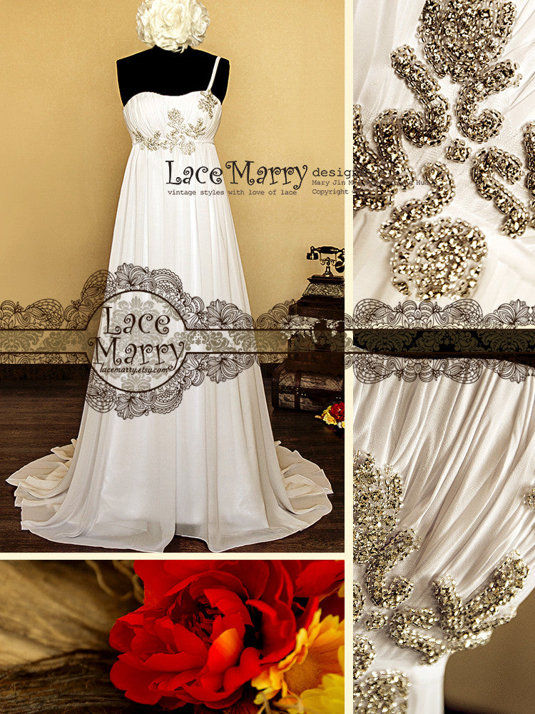 Chiffon Wedding Dress with Delicate Beading