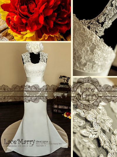lace applique stitched bodice wedding dress
